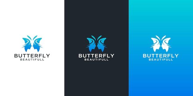 抽象的な美しさの女性の顔のデザインで設定された蝶のロゴ Premiumベクター