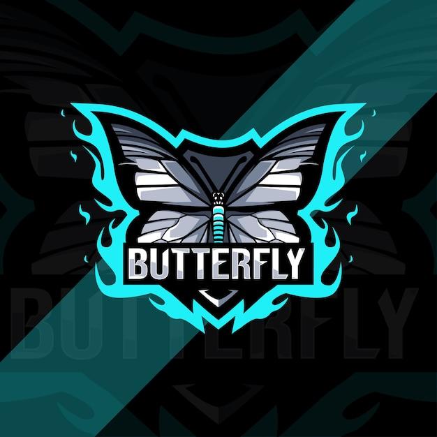 Бабочка талисман логотип киберспорт дизайн Premium векторы