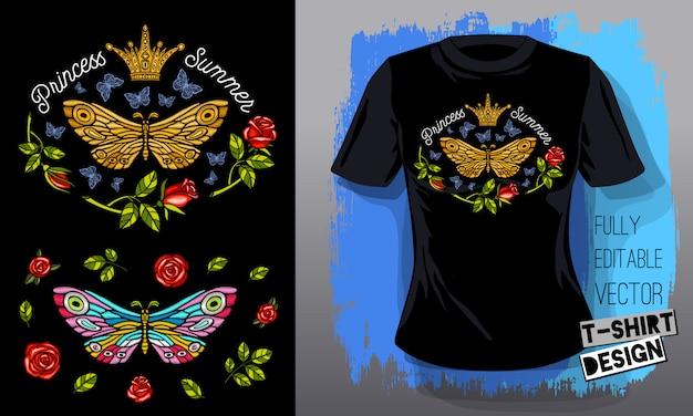 Бабочка бабочка золотая вышивка королева корона текстильные ткани футболка дизайн надписи золотые крылья насекомых роскошь мода вышитые стиль ручной обращается иллюстрации Premium векторы