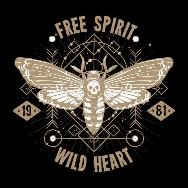 Butterfly occult tattoo. free spirit, wild heart Free Vector