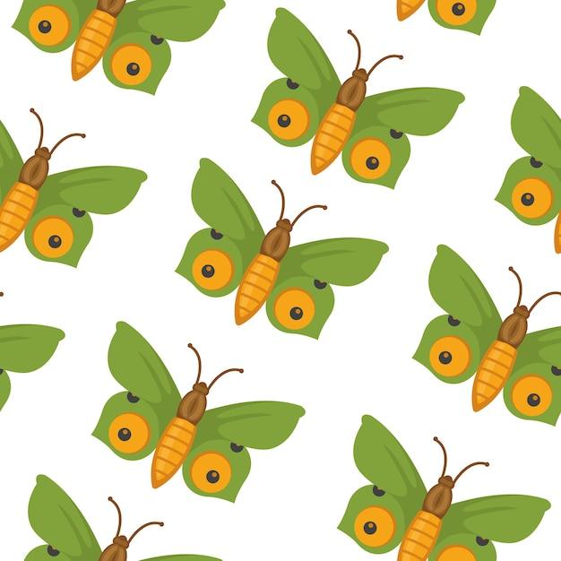 蝶のシームレスなパターン。夏の蝶の背景。 Premiumベクター