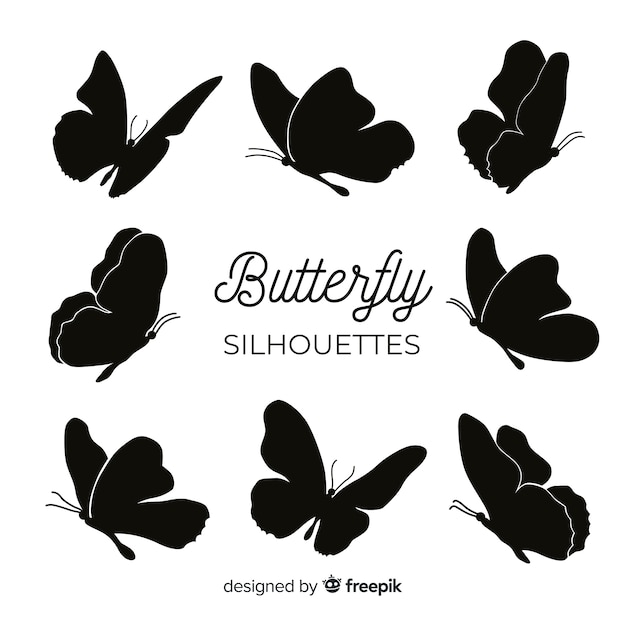 Butterfly silhouettes flying Free Vector