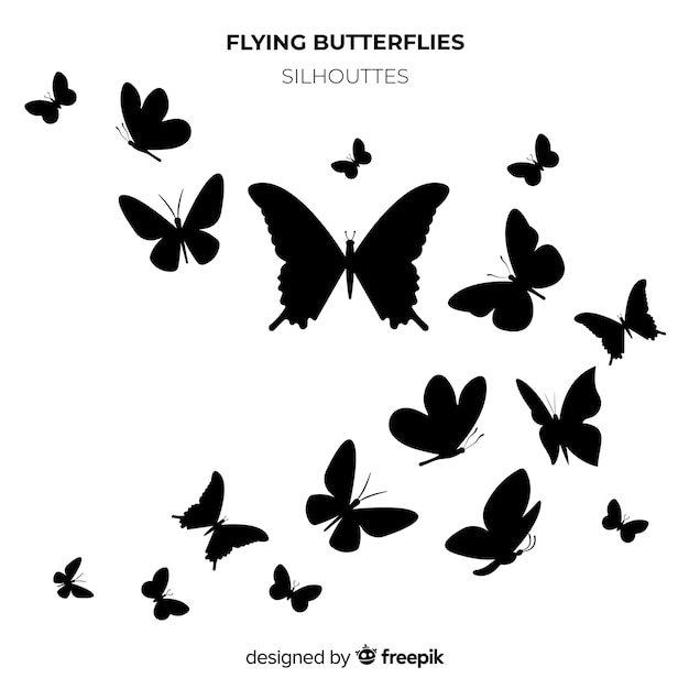 Butterfly silhouettes swarm background Free Vector