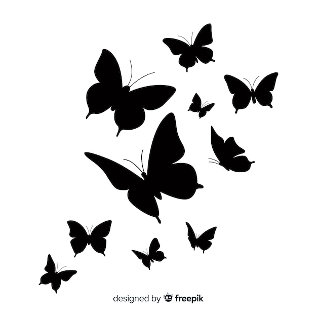 Butterfly swarm silhouette background Free Vector