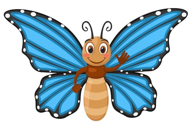 青い翼笑顔と白い背景の上の波と蝶します。キャラクター Premiumベクター