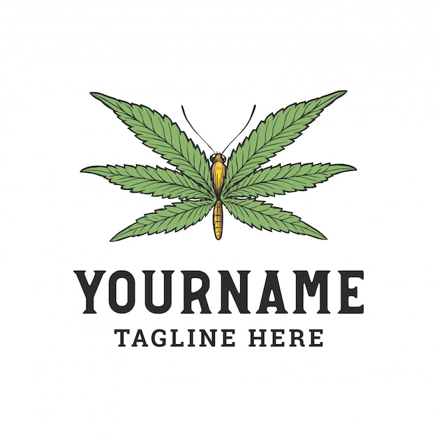 Butterfly with cannabis leaf Premium Vector