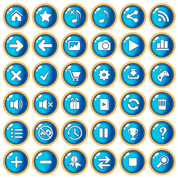 Button color blue border gold for game style plastic. Premium Vector