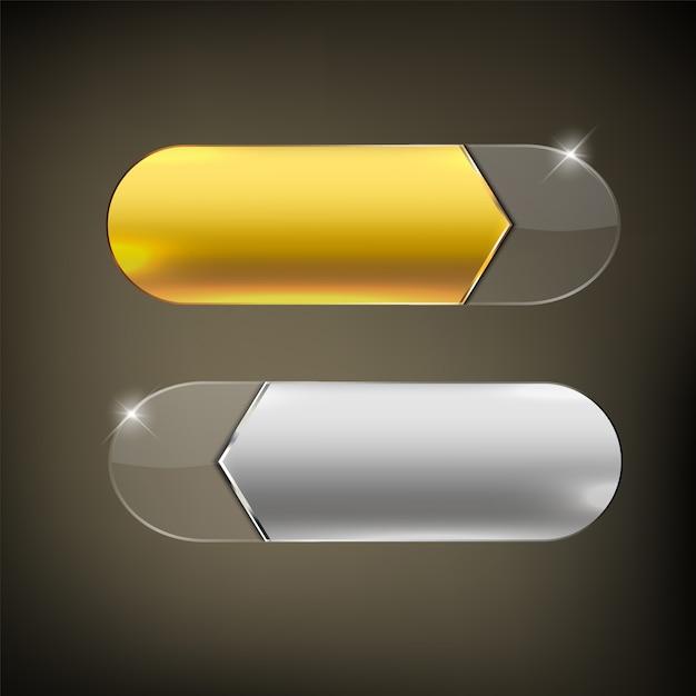 ボタンの色はゴールドとシルバーの光沢 Premiumベクター