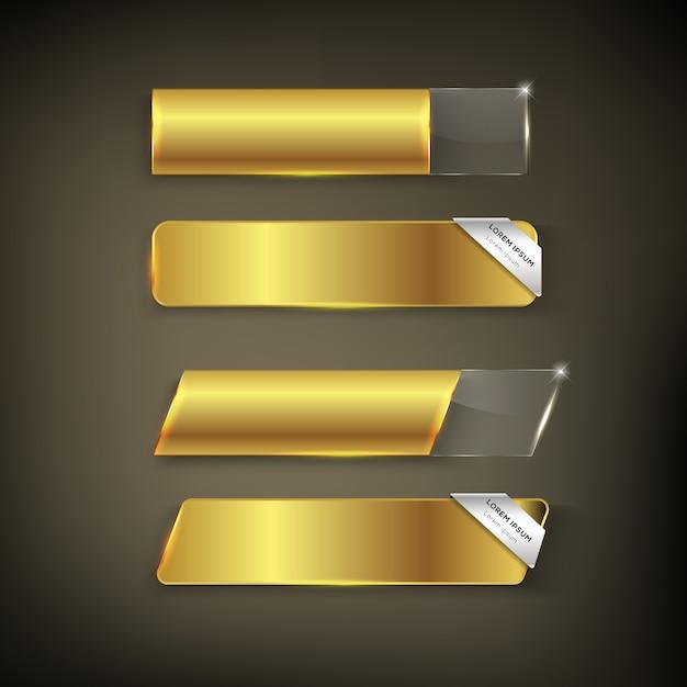 ボタンの色ゴールド光沢 Premiumベクター