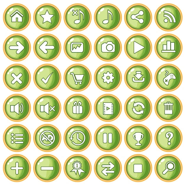 Button color green peach border gold for game style plastic. Premium Vector