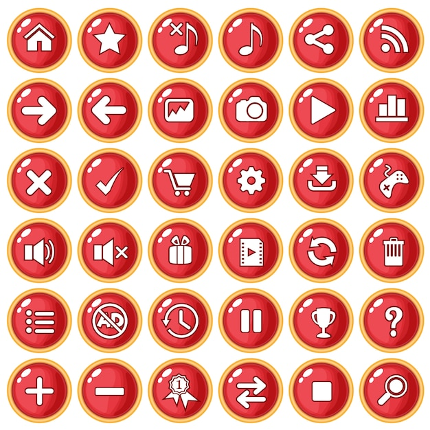 Button color red border gold for game style plastic. Premium Vector