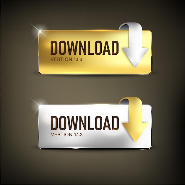 ボタンダウンロードセットカラーゴールドとシルバー Premiumベクター