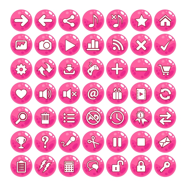 Button gui style jelly color-pink. Premium Vector