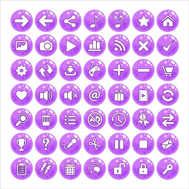 Button gui style jelly color purple. Premium Vector