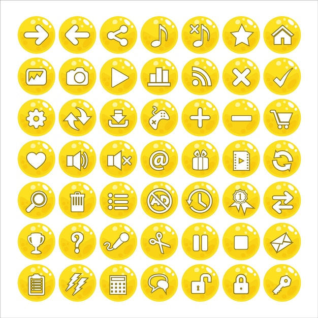 Button gui style jelly color yellow. Premium Vector