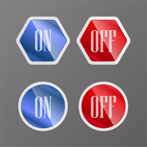 Button on and off Premium Vector
