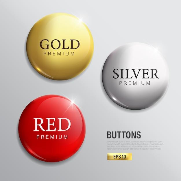 버튼 세트 원 현대 색상 금은 빨강 프리미엄 벡터