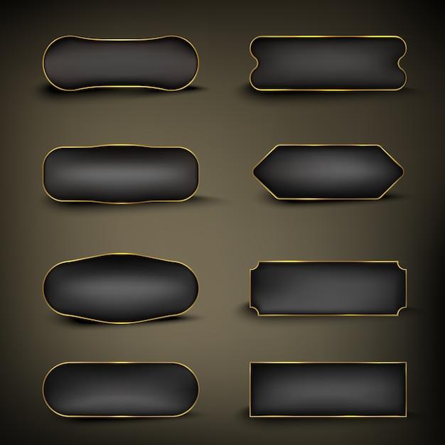 ボタンセットカラーゴールドとブラックシェイプ Premiumベクター