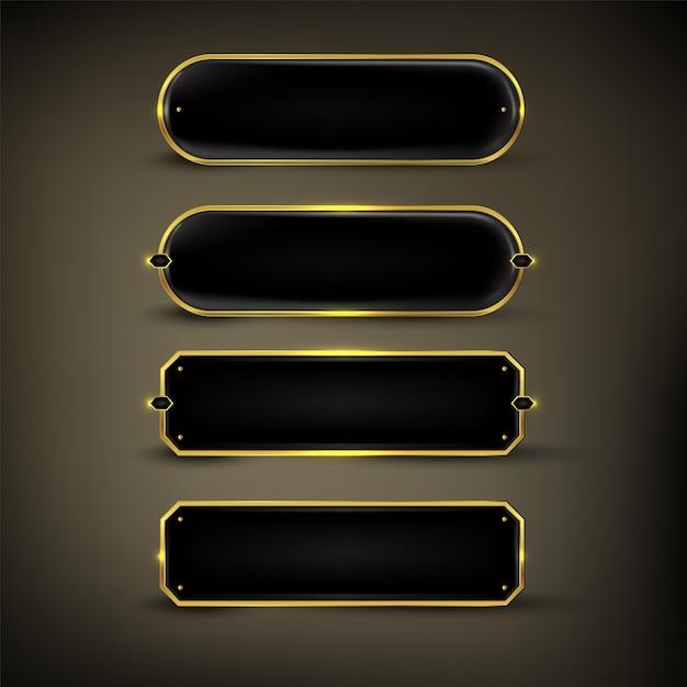 ボタンセットカラーゴールド光沢 Premiumベクター