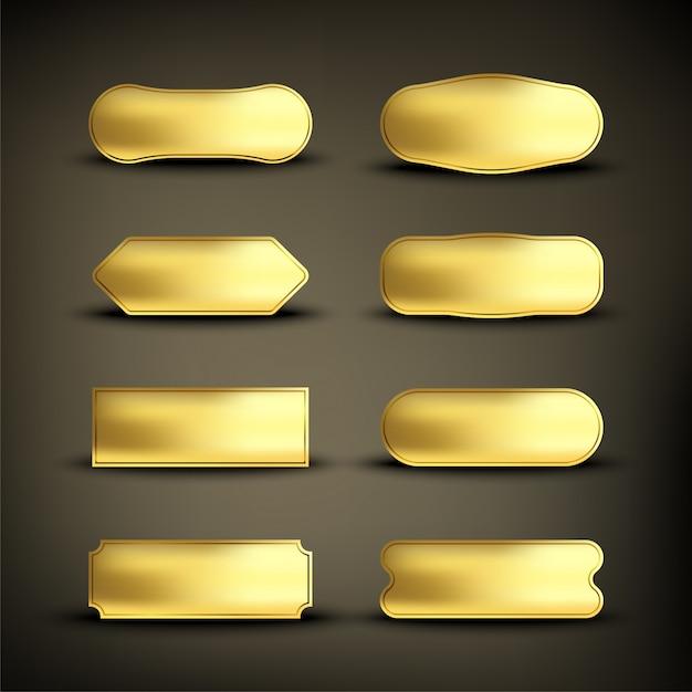 ボタンセットカラーゴールドshape2 Premiumベクター