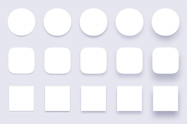 Button shadows, simple shape shadow, clear buttons badges and miscellaneous shapes material shadows isolated 3d realistic  set Premium Vector