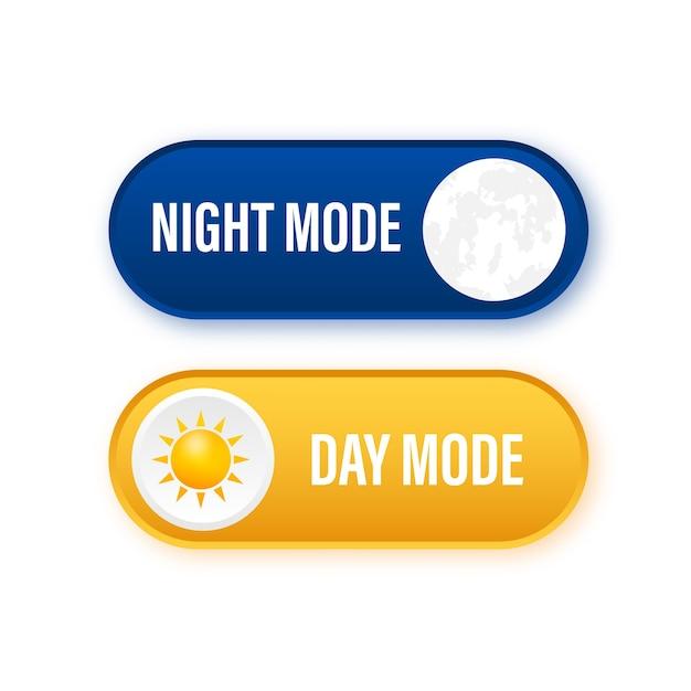 暗い背景にナイトモードのボタン Premiumベクター