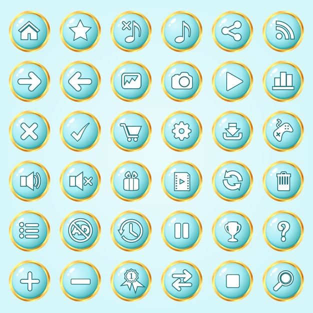 Buttons circle color blue sky border gold icon set for games. Premium Vector