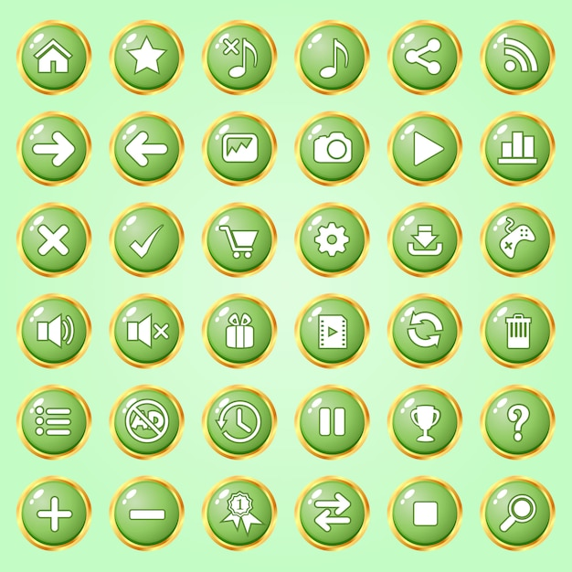 Buttons circle color green border gold icon set for games. Premium Vector