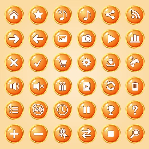 Buttons circle color orange border gold icon set for games. Premium Vector
