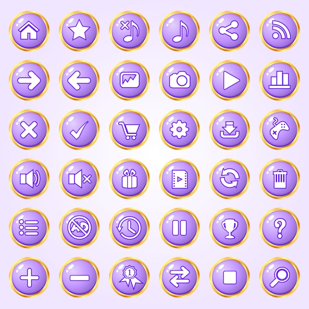 Buttons circle color purple border gold icon set for games. Premium Vector