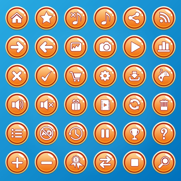 Buttons color orange and icons gui for games. Premium Vector