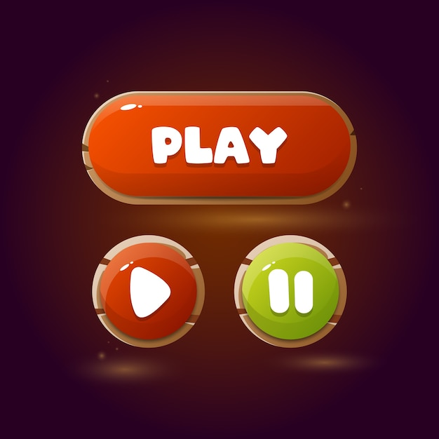 Кнопки для мобильных игр. дизайн игры ui. Premium векторы