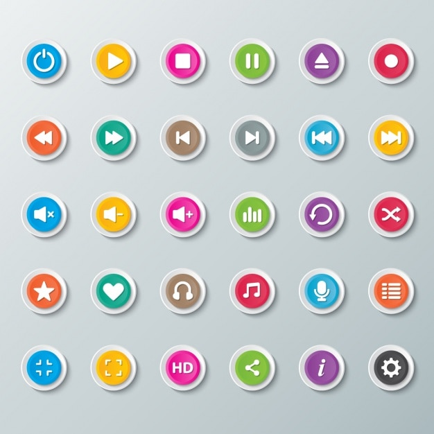 Buttons for music player Free Vector