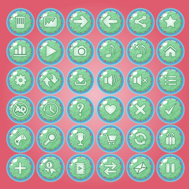 Buttons icon set for game interfaces. Premium Vector