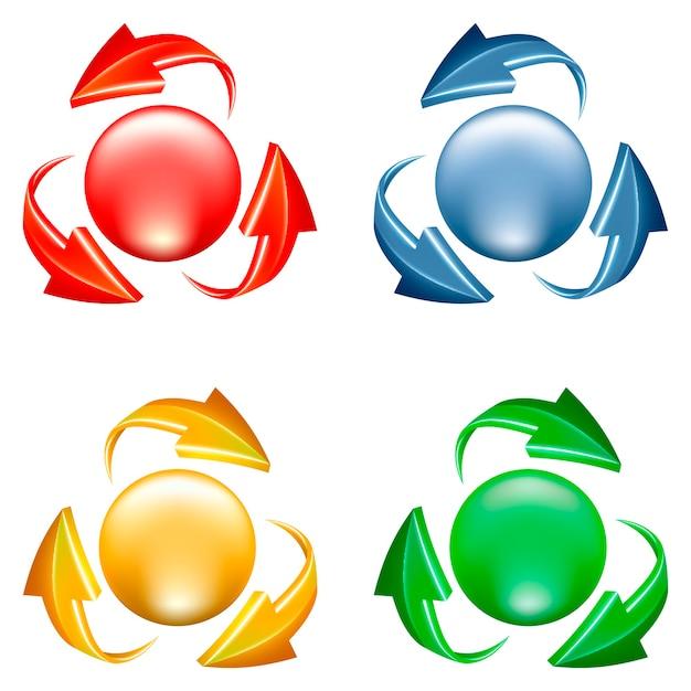 버튼을 설정합니다. 구와 다양한 색상의 화살표의 3d 아이콘 무료 벡터