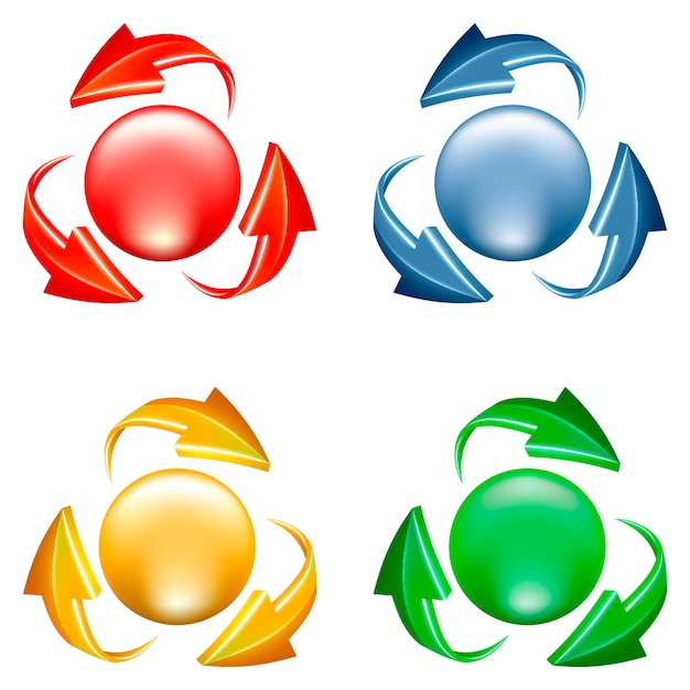 Buttons set. 3d icon of sphere and arrows in various colors Free Vector