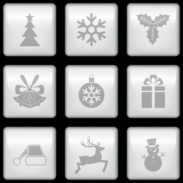 Buttons with christmas elements Free Vector