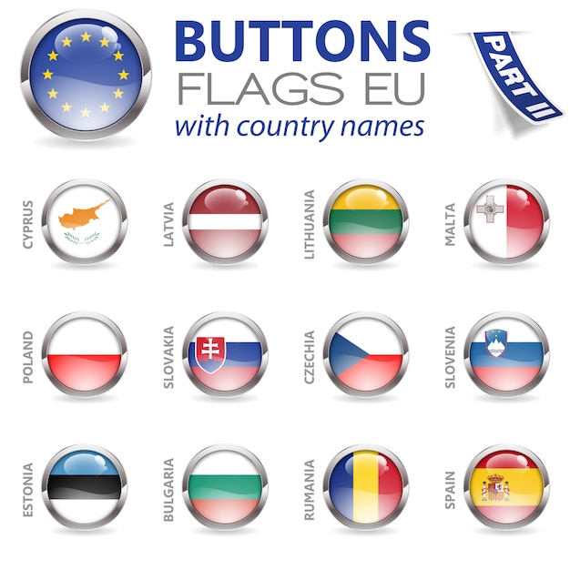 Buttons with eu flags Premium Vector