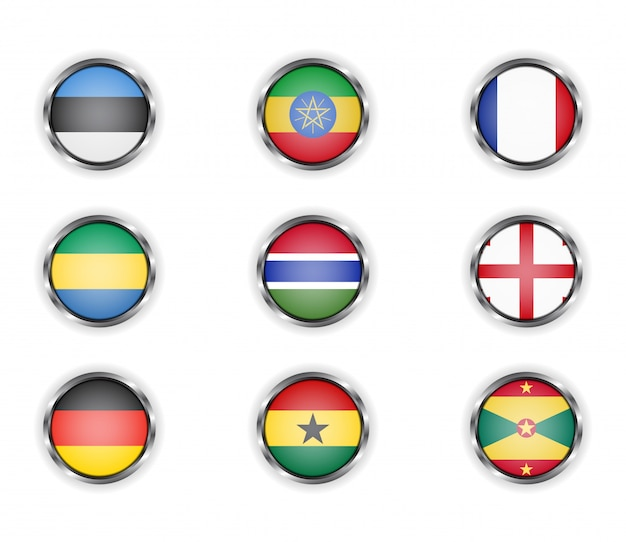 Buttons with the metallic frame of country flags. Premium Vector