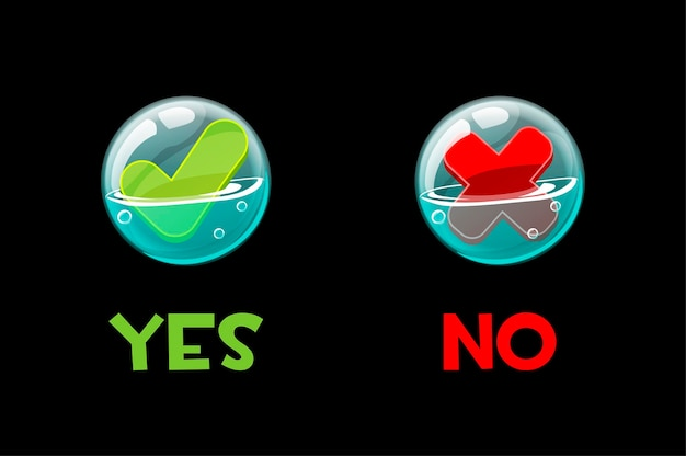 Buttons yes and no in soap bubbles for the interface. Free Vector
