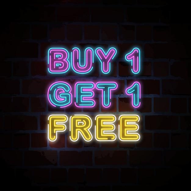 1つ買うと1つ無料のネオンサインイラストがもらえる Premiumベクター