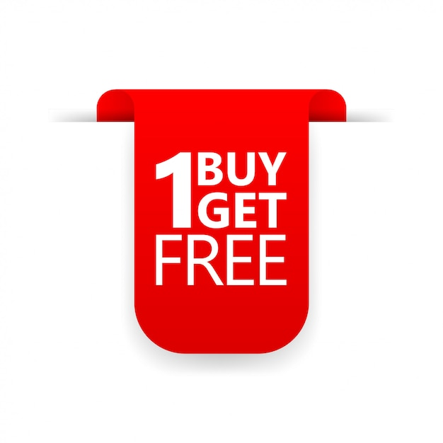 Buy 1 get 1 red ribbon icon Premium Vector