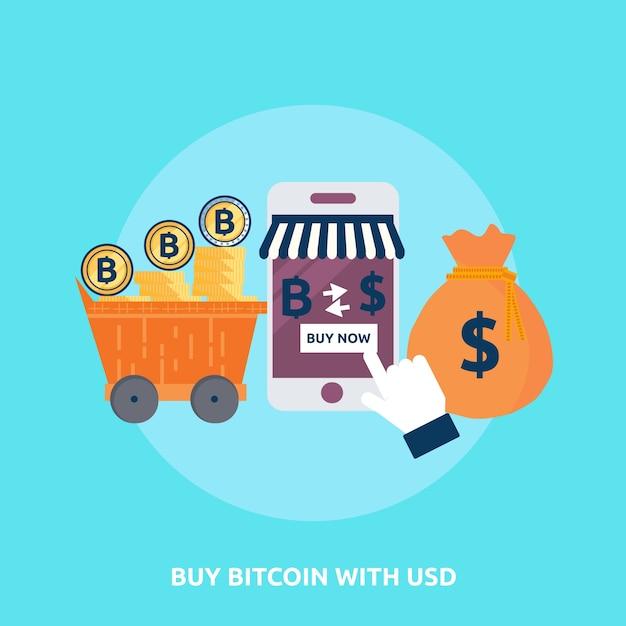 Premium Vector Buy Bitcoin With Usd Conceptual Design