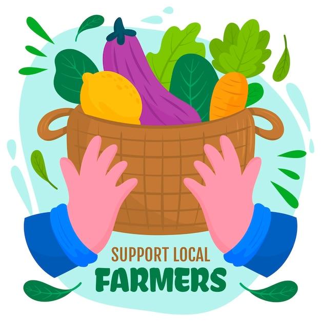 Acquista le verdure locali nel carrello Vettore gratuito