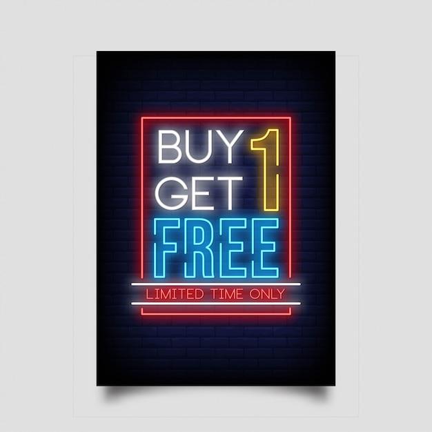 ネオンスタイルのバナーでone get one freeを購入します。 Premiumベクター