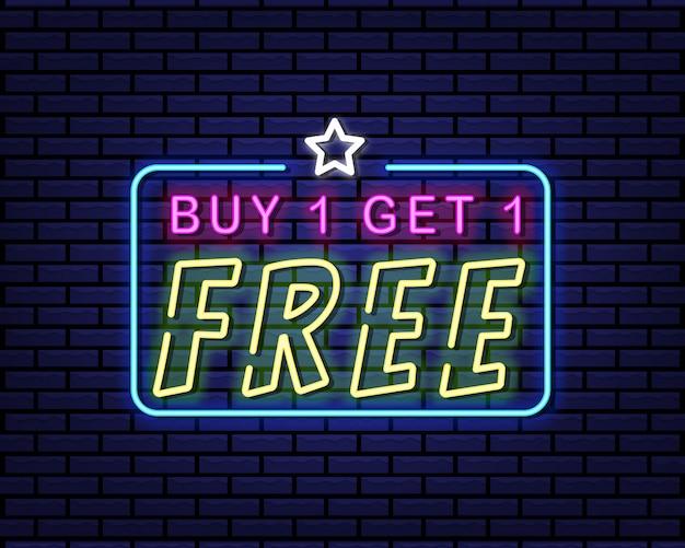1つ購入すると1つの無料ネオンサインがもらえます Premiumベクター