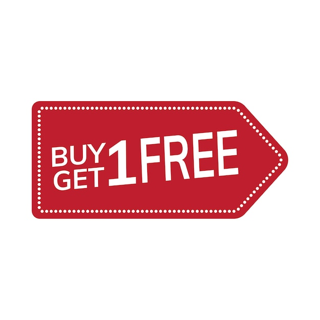 Buy one get one free promotional tag vector Free Vector