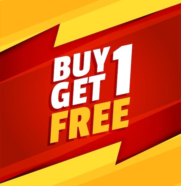 1つ購入すると、赤と黄色のセールバナーが1つ無料になります 無料ベクター