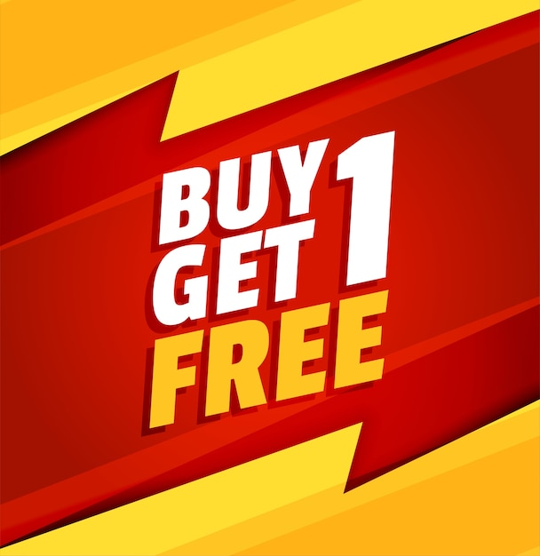 Buy one get one free red and yellow sale banner Free Vector