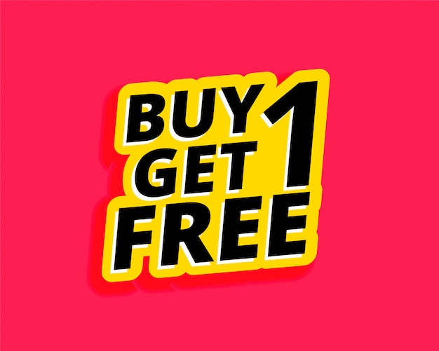 Buy one get one free sticker label design Free Vector
